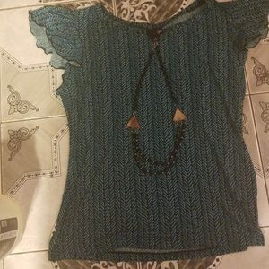 East Fifth Ruffle Sleeve Necklace Top Sz L